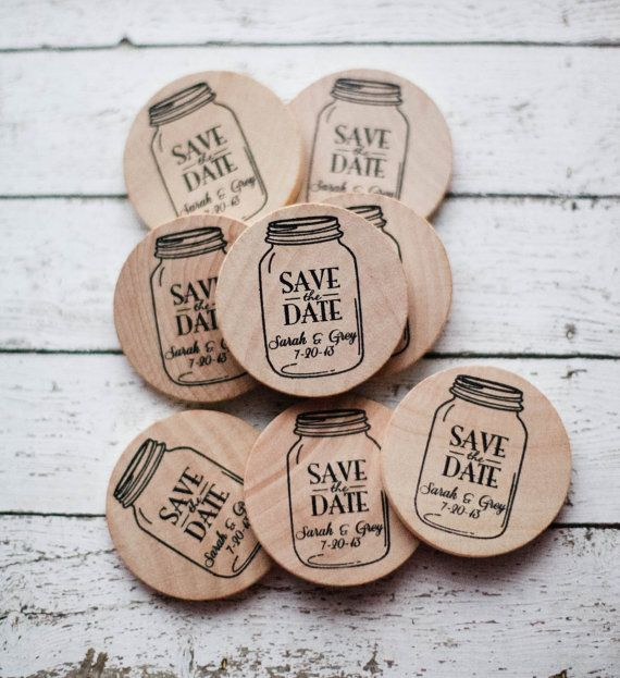 LOVE this idea for save the date! 50 Custom Mason Jar Save The Date/Wedding Favor Wood Magnets on Etsy, $105.57 AUD