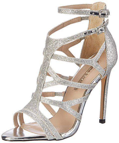 Buffalo Shoes 16S15-6 Glitter, Sandali con Zeppa Donna, Argento (Silver), 37 EU