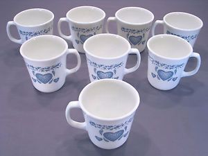 Corelle Set Of 8 Suprema Flared Mugs In Blue Hearts Pattern By Corning