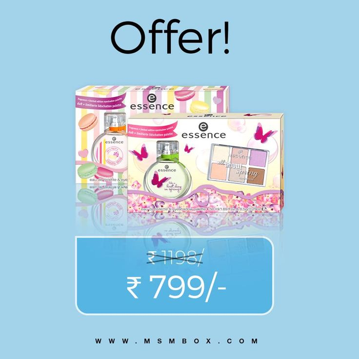 "It's raining offers!! Discover this cute combination of fragrance and a limited edition eyeshadow palette from Essence India at a great offer price and stock up before we run out! - Fragrance ""Like A First Day In Spring"" 50ml & ""All About Spring"" Limited Edition Eyeshadow - Fragrance ""Like A Day In A Candy Shop"" 50ml & ""All About Sweets"" Limited Edition Eyeshadow Visit msmbox.com and select ""Offers"" or click on link in bio to avail of this fantabulous deal!!! ‪#‎ChooseHappy‬ ‪#‎offers‬…"