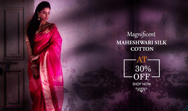 Classic Maheshwari sico sarees at FLAT 30% Off!!
