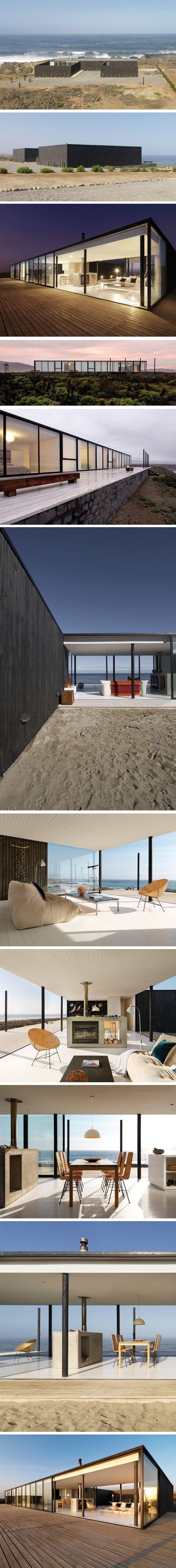 Magnifique maison sur la plage, Chili Pour la seconde fois de la semaine, on embarque pour le Chili et l'une de ses régions côtières où les architectes de