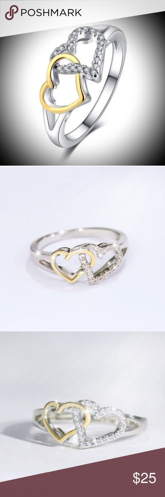 Two Tonned Intertwined Heart Ring Silver Tonned - with ...