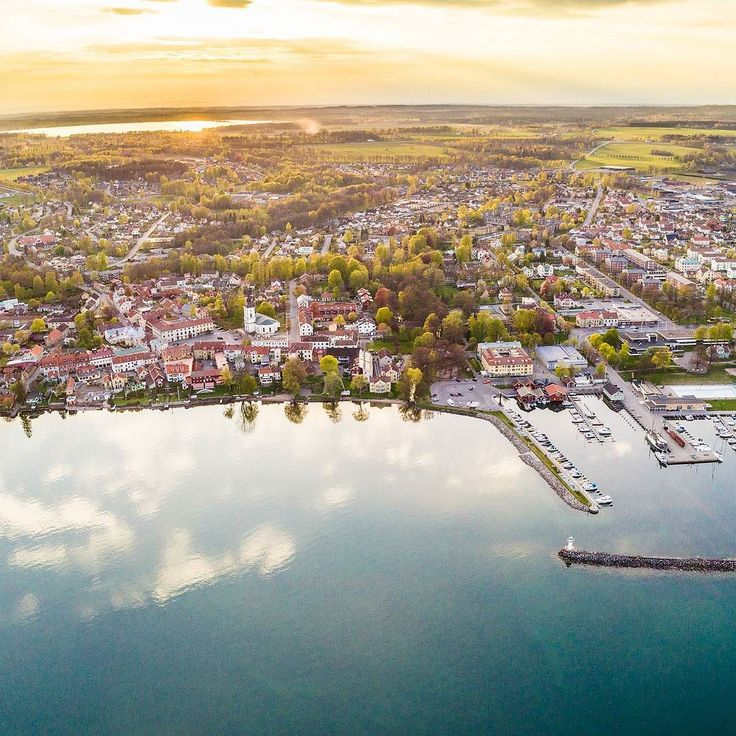 Aerial view ofHjocity next to lake Vättern. Sweden.  @visithjo