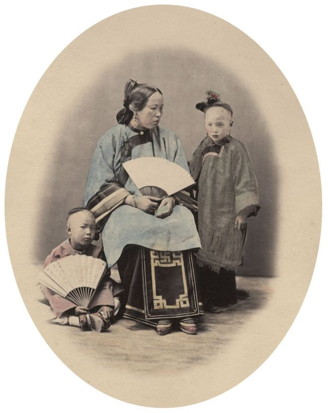 William Saunders, A Ningpo Family, 1860s-1870s. Hand-tinted albumen silver print. No. 37 in Sketches of Chinese Life and Character series