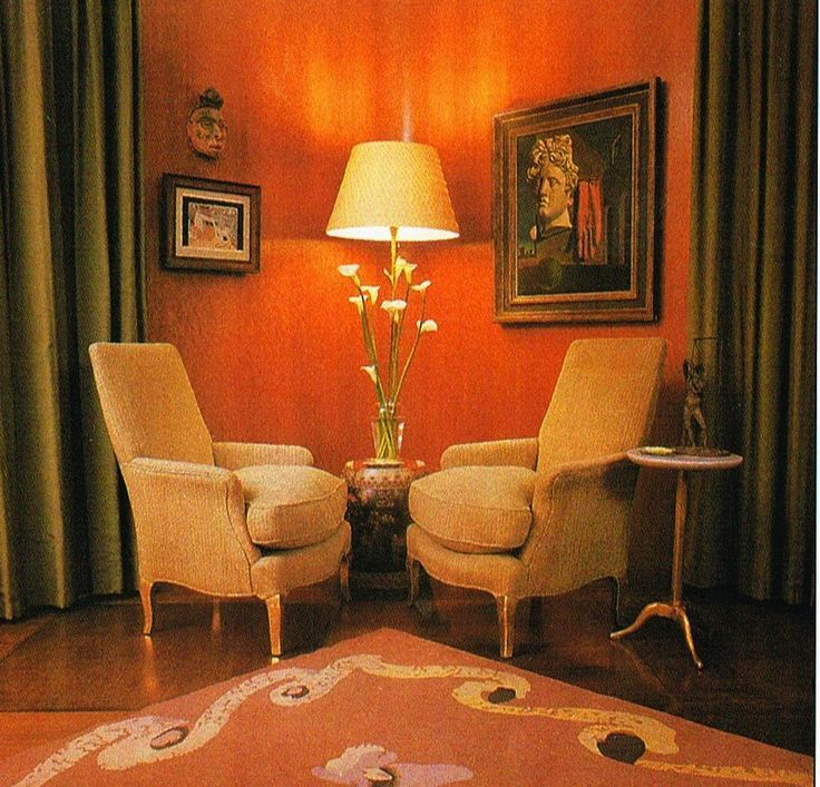 Nelson Rockefeller Fifth Avenue Residence - living room with a Bérard's rug & Chirico