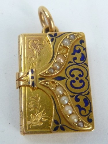 Antique Solid Gold Opening Book Picture Locket Pendant | eBay