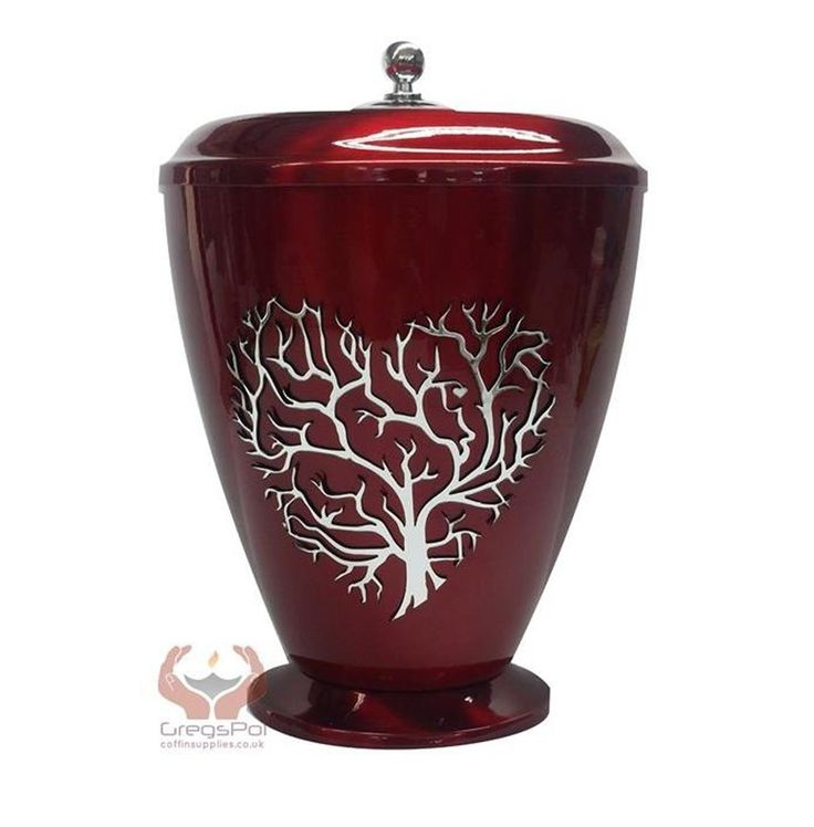 Beautifu Red Metal Cremation Urn for Ashes,Funeral Urn for Adult (Art22) - unique.urns_caskets - 1