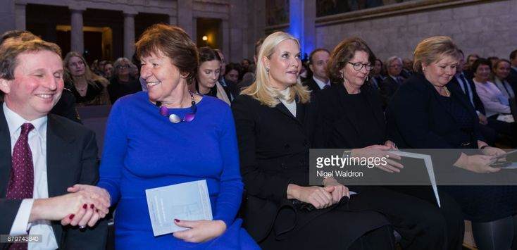 Rolf Golombek of Norway, Marianne Borgen the Mayor of Oslo, Princess Mette Marit of Norway and Guri Hjeltnes off Norway, Erna Solberg the Prime Minister of Norway attend the remembrance ceremony for the deportation of the Jews in 1942 during the Second World War at the University Aula on November 26, 2017 in Oslo, Norway.