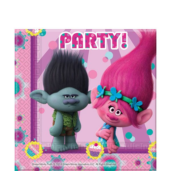Trolls Party Npakins, Cups, Plates & Tablecovers plus Trolls themed Party Decorations, Balloons & Party Bag Fillers with FREE UK Delivery