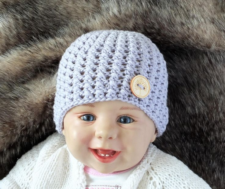 Merino hat - Gray baby hat - Crochet hat - Newborn Hat - Baby Beanie - Baby Photo Prop - Button hat - Gender neutral hat - Baby boy hat by HandmadebyInese on Etsy