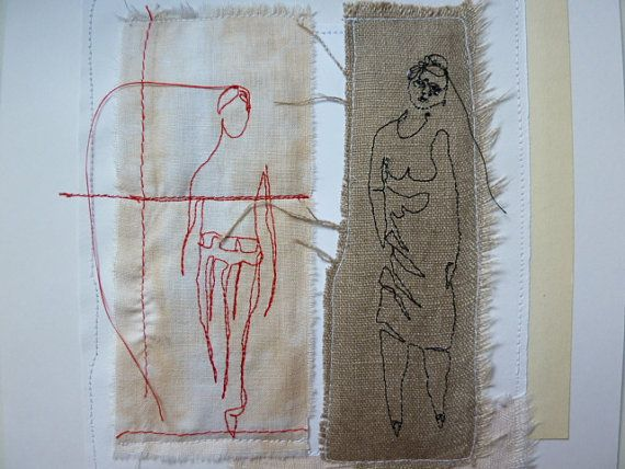 Side by side  mixedmedia embroidery collage by HGhandmade on Etsy, €38.00