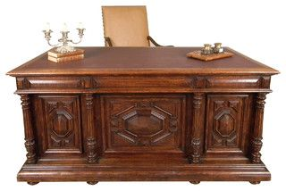 Leather Top Desk - mediterranean - desks - los angeles - by Castle Antiquesnwould be SO COOL...if like, $2600 cheaper!
