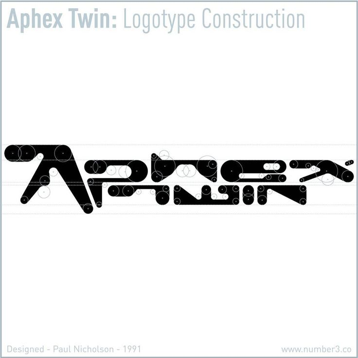 NUMBER 3 presents APHEX TWIN LOGOTYPE CONSTRUCTION  It is exactly 25 years since the release of Selected Ambient Works - February 12th 1992.  The lettering that reads Aphex Twin, the logotype, was drawn by hand using circle templates and rulers in late 1991.  With there being many incorrect versions of this lettering floating about, I thought it about time to release the definitive logo construction.  Enjoy.  Designed by Paul Nicholson, 1991.  Number 3 - www.number3.co  #Aphex #AphexTwin…