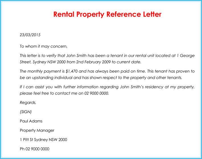 Print Rental Reference Letter Reference Letter Lettering Business Letter Template