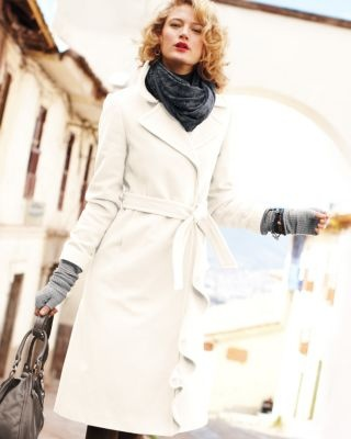 'Double-breasted Ruffle-trimmed Coat - Petite Winter White' on getbestdecision.com