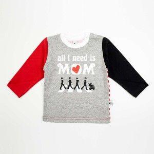 """T-shirt a maniche lunghe """"All I Need Is Mom"""", un omaggio speciale ai Beatles e a tutte le mamme del mondo! 100% cotone, fatta in Portogallo: http://www.freebirdbabyshop.com/abbigliamento/t-shirt-maniche-lunghe/t-shirt-maniche-lunghe-all-i-need-is-mom.html"""