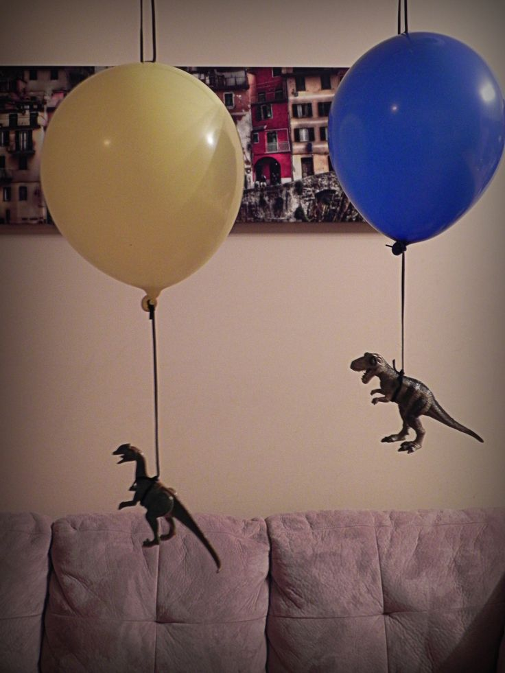 Dinovember Day 1 (D's birthday!) surprise floating dinosaurs in her bedroom