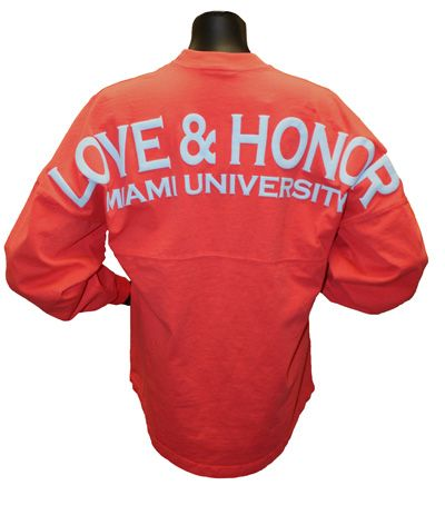 Coral Football Spirit Jersey With Love And Honor Over Miami University-- Miami bookstore website