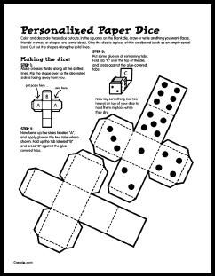 Printable Dice From Game Ideas For Kids Links For 7 Steps For