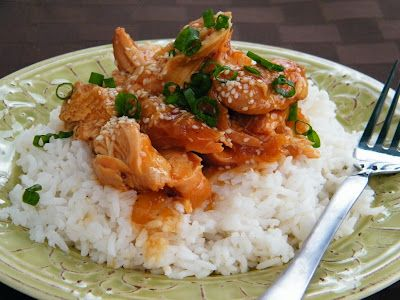 Slowcooker Sesame Chicken.  subbed soya for tamari, thighs for breasts.  quick, tasty, easy.
