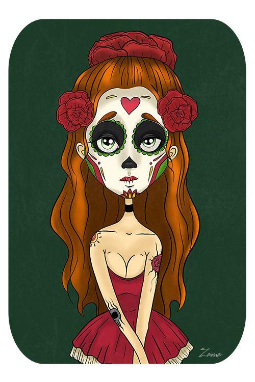 Zama Art on Behance #zama #zamart #illustration #cute #skull #skeleton #procreate #ipencil #diadelosmuertos #art #illustrations #dead #dayofthedead #halloween