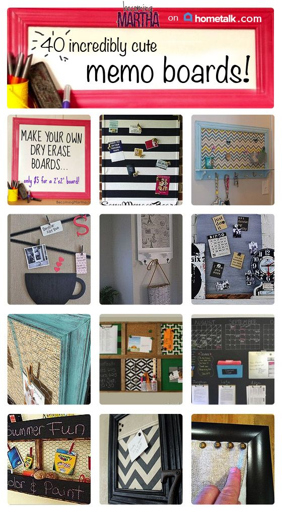 Everyone loves a cute memo board!! Here are 40 great DIY boards you can make!