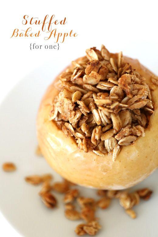 {Single Serving} Oatmeal Stuffed Baked Apple