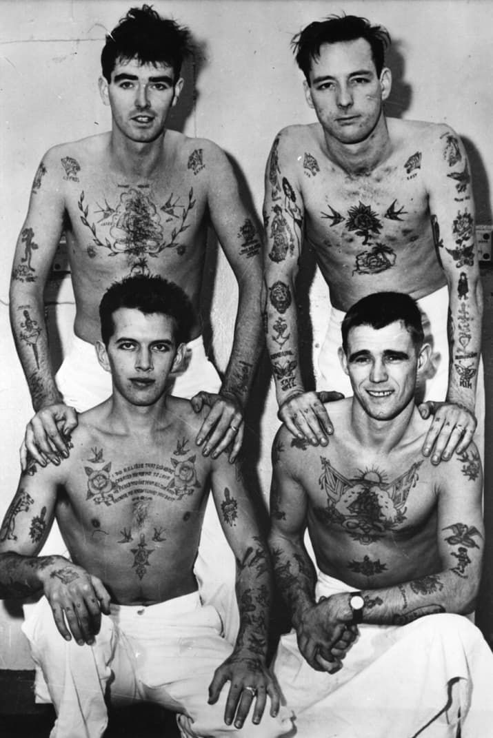 26 Badass Vintage Photos Of Tattoos From History Vintage Tattoo History Tattoos Sailor Tattoos