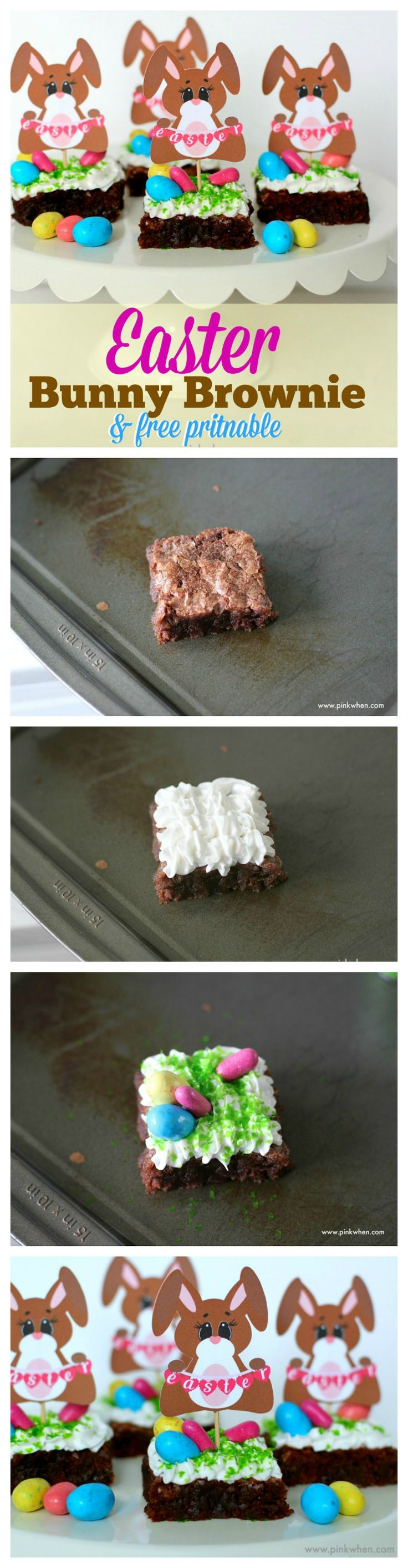 Super cute Easter Bunny Brownie with free Printable Easter Bunny topper. So easy!