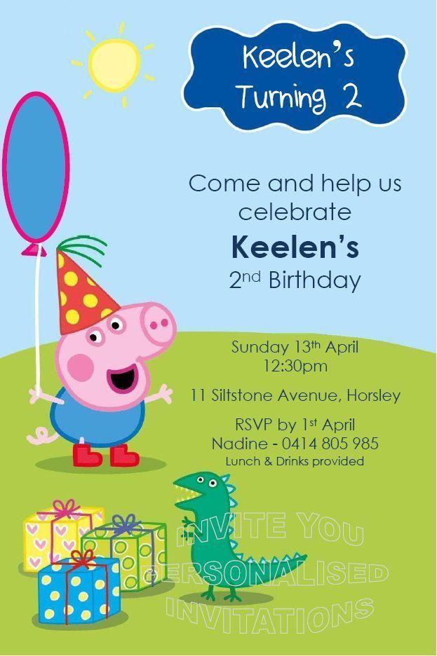 Birthday Party Invitations Boys Invite Peppa George Pig Digger Truck