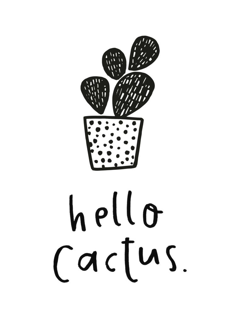 Hello Cactus Printable - Cactus Illustration - Kids Bedroom Print - Gallery Wall…