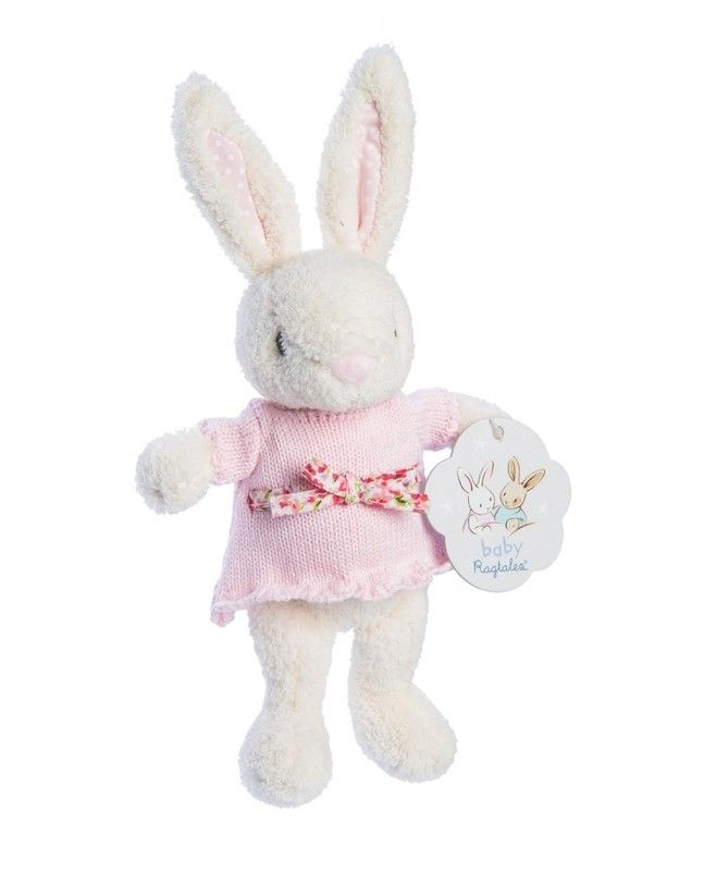 Have you seen anything cuter?! Ragtales Baby Fifi is a soft toy and rattle in one. Featuring a super soft velour body and a gorgeous knit dress with floral bow, she is sure to charm! Perfect as a baby shower or first Easter present!