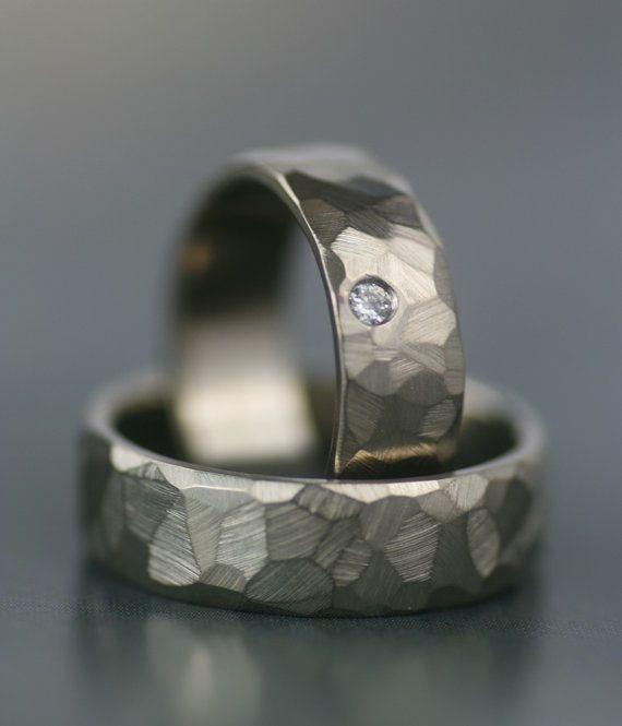 Image of faceted wedding band diamond set