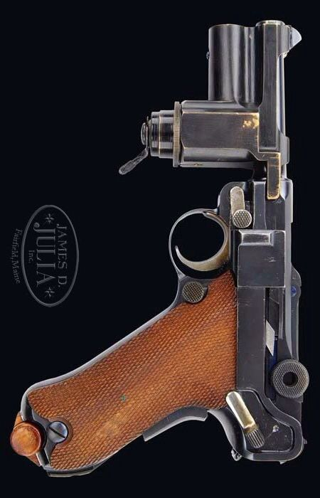 """Rare and Important DWM Hitler Guard """"Night Pistol"""" Luger With Flashlight Attachment  Holster"""