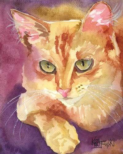 Orange Tabby Cat Art Print of Original Watercolor by dogartstudio,