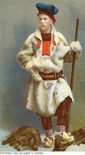 Sami man from Lappland by Algot Stand 1894    After photography. Svensk samisk mann i tradisjonell drakt laget av Algot E. Strand etter fotografi før 1894.