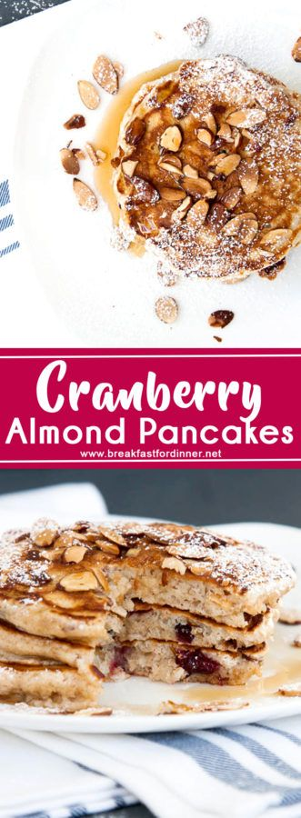 Slivered almonds provide a toasted crunch, and the cranberries are soft pockets of flavour in these Almond Cranberry Whole Wheat Pancakes.