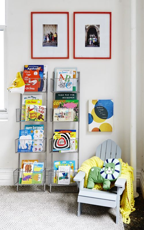 leaning metal book basket shelves | HomeGoods Event NYC11
