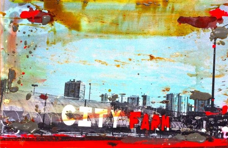"""""""City Farm, 2010"""" by Tony Soulié -  Mixed technique on wood 60 x 90 cm #City #painting #Photograph #Soulier"""