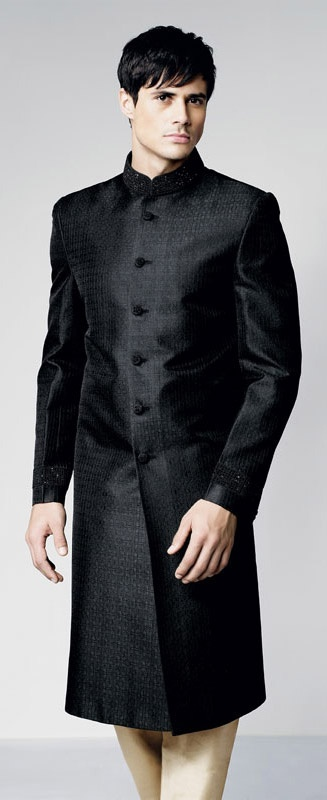 Black men's sherwani suit