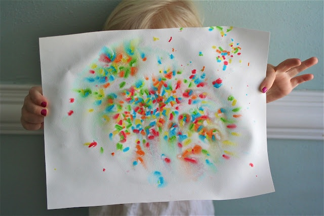 4th of July fireworks craft (sprinkles n a spray bottle w/ water - makes fireworks)