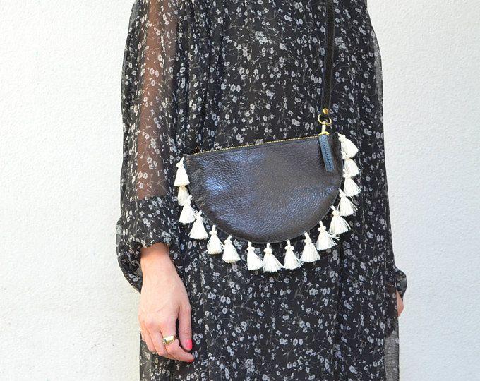 Lulu. Leather Half Moon Clutch. Black Leather Half Moon Clutch. Waist Bag. Leather Purse. Cross Body Bag. Belt Bag. Minimal Bag. Boho Bag