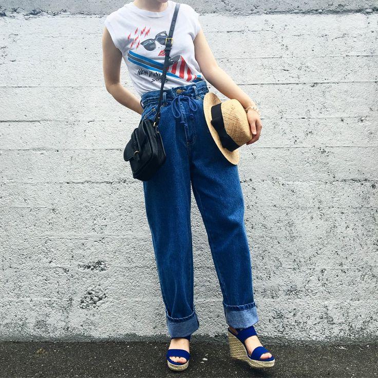 ギリシャチュニックチュニックリンガーTシャツTシャツキャラT花柄スカートプリーツスカートデニムパンツテーパードデニムサンダルドゥー二アンドバークショルダーバッグ
