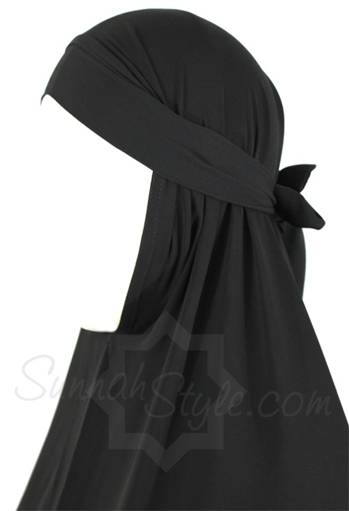 Tie-Back Knee Length Khimar (Black) by Sunnah Style #SunnahStyle #hijabstyle #khimar
