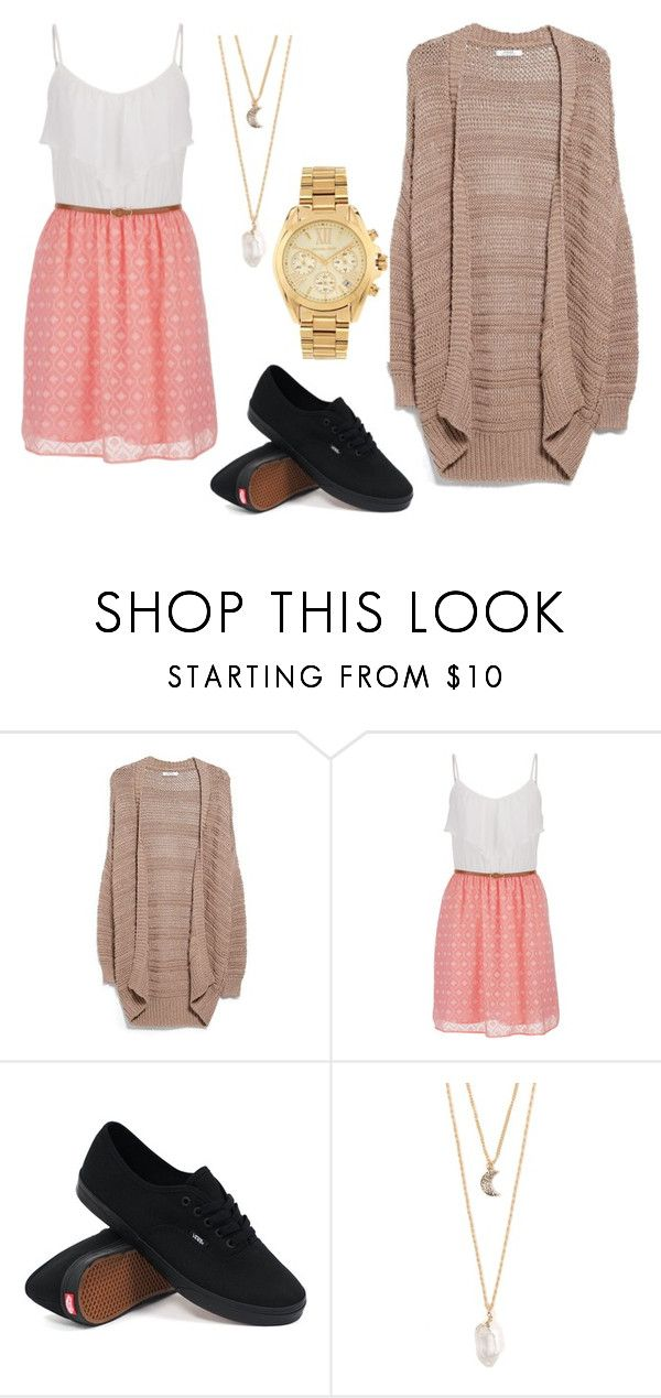 """""""Casual lunch/birthday outing outfit"""" by vomelodie ❤ liked on Polyvore featuring MANGO, maurices, Vans, With Love From CA and Michael Kors"""