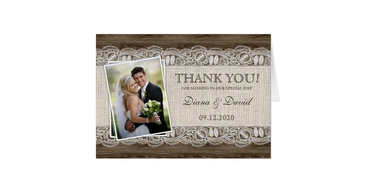 Rustic Wedding Photo Thank You Cards Template Elegant Lace Wedding Thank You Cards