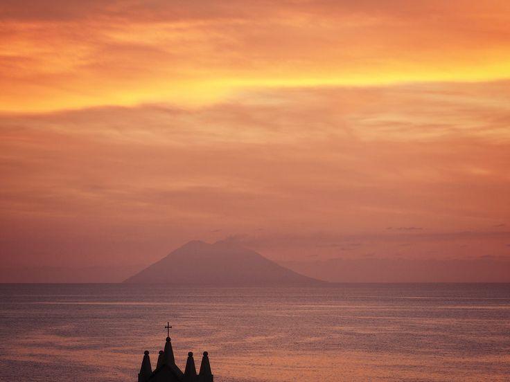 Stromboli Volcano seen from Tropea, Italy, 2017