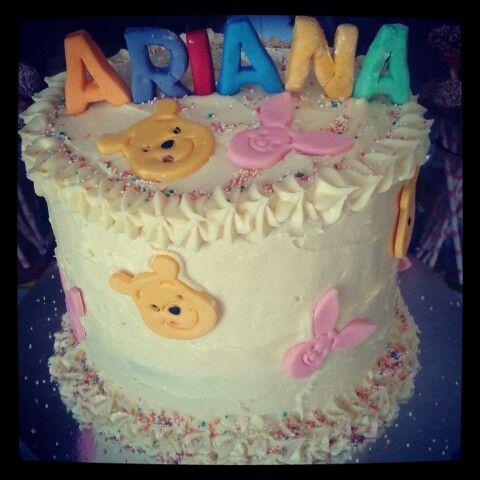 Rainbow pooh bear cake