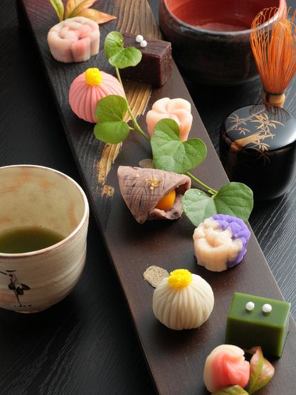 Travel Asian food Japanese sweets ( Wagashi ) with Matcha Tea